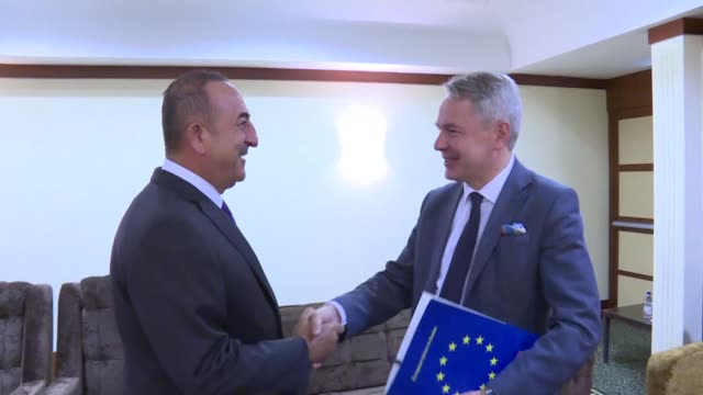 turkish foreign minister mevlut cavusoglu meets with his finnish counterpart pekka haavisto in sudanese capital khartoum on august 17 2019 - foreign minister stock videos and b-roll footage
