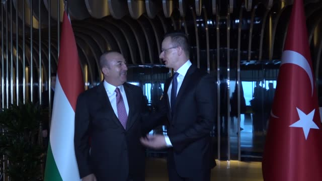 turkish foreign minister mevlut cavusoglu meets with his hungarian counterpart peter szijjarto in istanbul, turkey on february 13, 2019. - hungarian culture stock videos & royalty-free footage