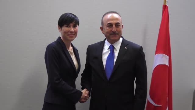 turkish foreign minister mevlut cavusoglu meets with his norwegian counterpart ine marie eriksen soreide in brussels belgium on april 27 2018 - government minister stock videos & royalty-free footage