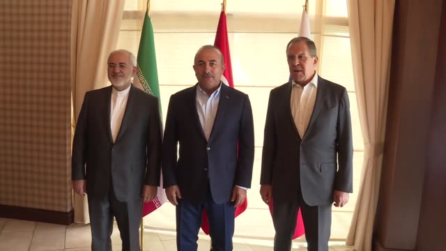 turkish foreign minister mevlut cavusoglu meets with his russian counterpart sergey lavrov and iranian counterpart mohammad javad zarif in antalya... - mediterranean turkey stock videos and b-roll footage