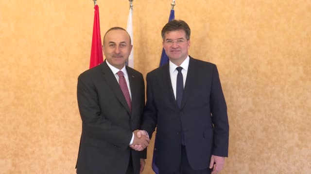 turkish foreign minister mevlut cavusoglu meets with his slovak counterpart miroslav lajcak in bratislava on may 26, 2017. he will later attend... - eastern european culture stock videos & royalty-free footage