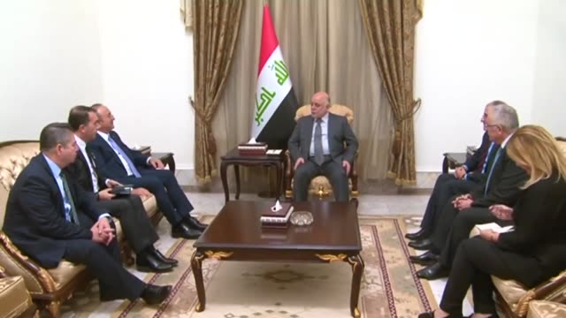 turkish foreign minister mevlut cavusoglu meets with iraqi prime minister haider alabadi in baghdad iraq on october 11 2018 - iraqi prime minister stock videos & royalty-free footage
