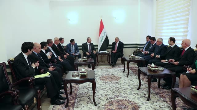 turkish foreign minister mevlut cavusoglu meets with iraqi prime minister adil abdulmahdi in baghdad iraq on april 28 2019 - foreign minister stock videos and b-roll footage