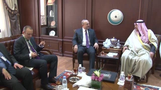 turkish foreign minister mevlut cavusoglu meets with kuwaiti foreign minister sabah khalid al hamad al-sabah on december 22, 2016 in jeddah, saudi... - jiddah stock videos & royalty-free footage