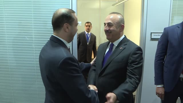 turkish foreign minister mevlut cavusoglu meets with minister of state for media affairs and communications of jordan and government spokesman... - spokesman stock videos and b-roll footage