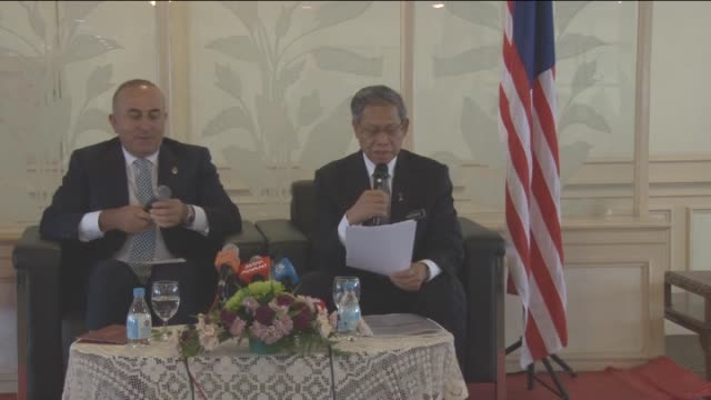 turkish foreign minister mevlut cavusoglu meets with minister of international trade and industry of malaysia mustapa mohamed in kuala lumpur,... - minister clergy stock videos & royalty-free footage