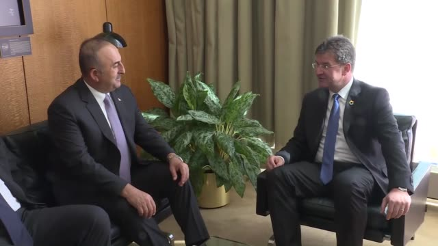 turkish foreign minister mevlut cavusoglu meets with miroslav lajcak president of the 72nd session of the united nations general assembly and slovak... - eastern european culture stock videos and b-roll footage