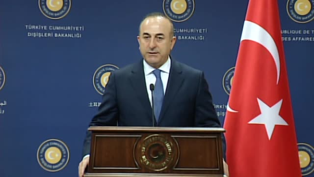 turkish foreign minister mevlut cavusoglu meets with nato secretary general jens stoltenberg in ankara on april 21, 2016. the pair hold a press... - secretary general stock videos & royalty-free footage