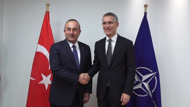 Turkish Foreign Minister Mevlut Cavusoglu meets with NATO secretary General Jens Stoltenberg on the sidelines of the NATO Foreign Ministers meeting...