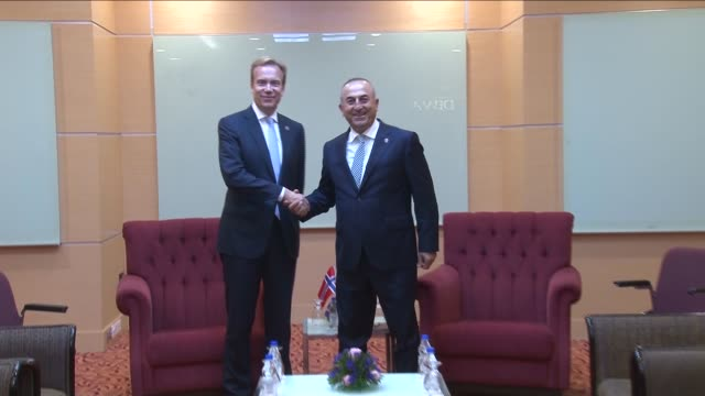 turkish foreign minister mevlut cavusoglu meets with norwegian foreign minister borge brende within the 48th association of southeast asian nations... - association of southeast asian nations stock videos & royalty-free footage
