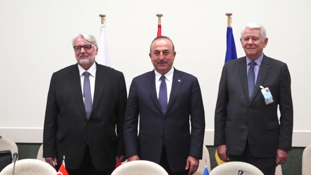 Turkish Foreign Minister Mevlut Cavusoglu meets with Romanian Foreign Minister Teodor Melescanu and Polish Foreign Minister Witold Waszczykowski on...