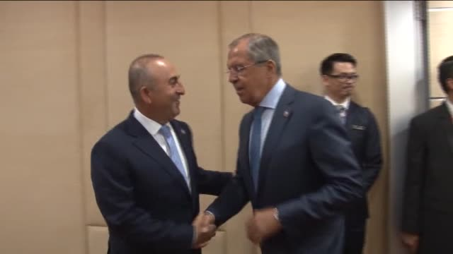 turkish foreign minister mevlut cavusoglu meets with russian foreign minister sergey lavrov within the 48th association of southeast asian nations... - association of southeast asian nations stock videos & royalty-free footage
