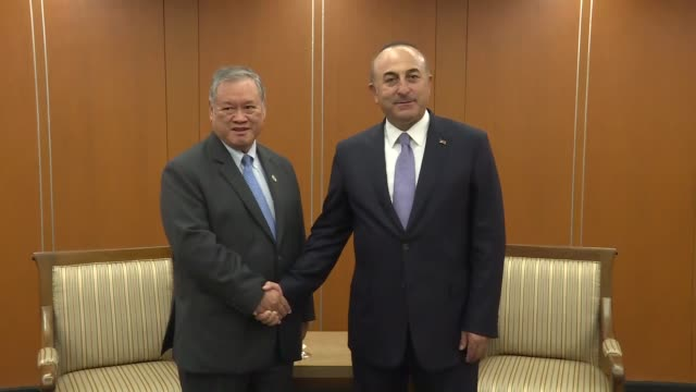 turkish foreign minister mevlut cavusoglu meets with second minister of foreign affairs and trade of brunei lim jock seng within the 50th association... - association of southeast asian nations stock videos & royalty-free footage