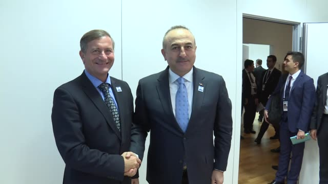 Turkish Foreign Minister Mevlut Cavusoglu meets with Slovenian Deputy Prime Minister and Foreign Minister Karl Erjavec on the sidelines of the 23rd...