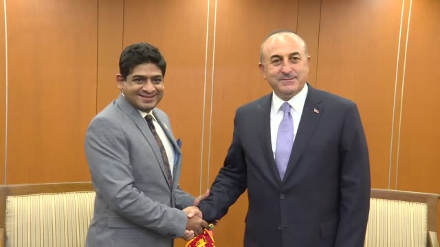 turkish foreign minister mevlut cavusoglu meets with sri lankan state minister of foreign affairs vasantha senanayake within the 50th association of... - association of southeast asian nations stock videos & royalty-free footage