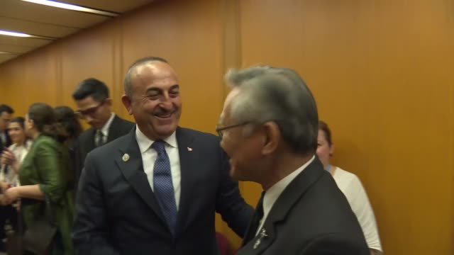 turkish foreign minister mevlut cavusoglu meets with thai foreign minister don pramudwinai within the 50th association of southeast asian nations... - association of southeast asian nations stock videos & royalty-free footage