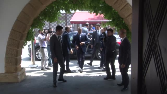 turkish foreign minister mevlut cavusoglu meets with turkish republic of northern cyprus president mustafa akinci in lefkosa on april 20 2018 - minister president stock videos and b-roll footage