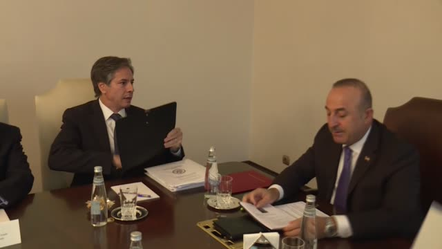 Turkish Foreign Minister Mevlut Cavusoglu meets with United States Deputy Secretary of State Tony Blinken in Ankara Turkey on September 27 2016...