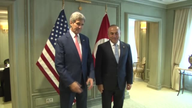 turkish foreign minister mevlut cavusoglu meets with us secretary of state john kerry within the 48th association of southeast asian nations foreign... - association of southeast asian nations stock videos & royalty-free footage