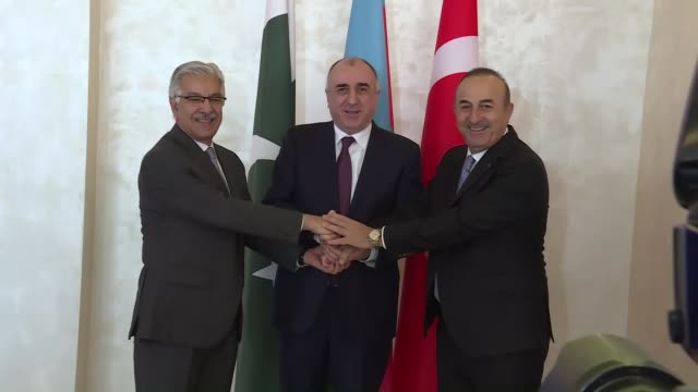 Turkish Foreign Minister Mevlut Cavusoglu Pakistani Foreign Minister Khawaja Muhammad Asif and Azerbaijani Foreign Minister Elmar Mammadyarov attend...