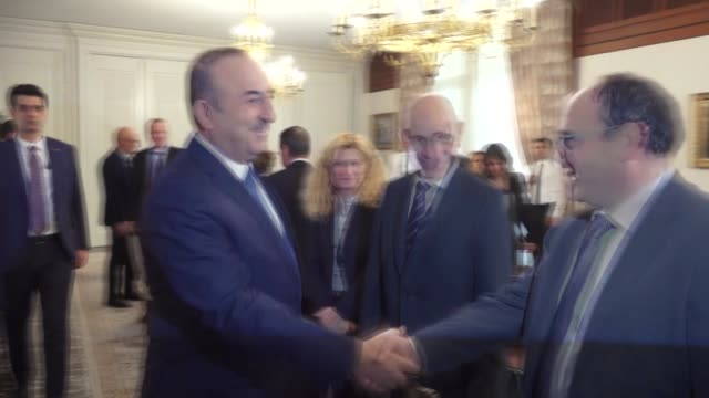 Turkish Foreign Minister Mevlut Cavusoglu receives President of the European Union Commission Policies Vannino Chiti in Ankara Turkey on November 27...