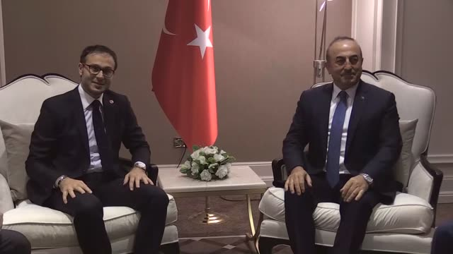 Turkish Foreign Minister Mevlut Cavusoglu separately meets with Turkic Council SecretaryGeneral Ramil Hasanov UN Assistant SecretaryGeneral for...