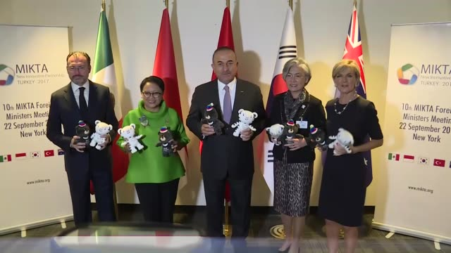 turkish foreign minister mevlut cavusoglu south korean foreign minister kang kyungwha indonesian foreign minister retno marsudi mexican foreign... - annual general meeting stock videos & royalty-free footage