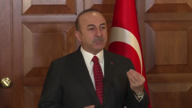 Turkish Foreign Minister Mevlut Cavusoglu speaks a joint press conference with Luxembourgian Foreign and European Affairs Minister Jean Asselborn at...