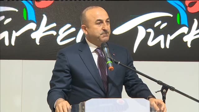 turkish foreign minister mevlut cavusoglu speaks as he visits his country's booth at the internationale tourismusboerse international travel trade... - trade show booth stock videos & royalty-free footage