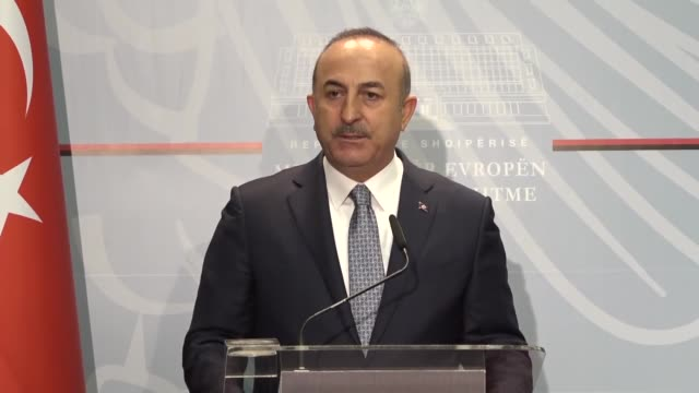 Turkish Foreign Minister Mevlut Cavusoglu speaks at a joint press conference with his Albanian counterpart Ditmir Bushati following their meeting in...