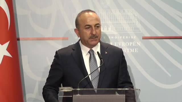 turkish foreign minister mevlut cavusoglu speaks at a joint press conference with his albanian counterpart ditmir bushati following their meeting in... - tirana stock videos & royalty-free footage