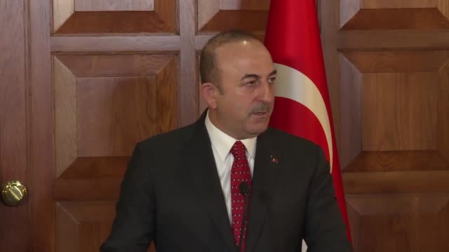 Turkish Foreign Minister Mevlut Cavusoglu speaks at a joint press conference with Luxembourgian Foreign and European Affairs Minister Jean Asselborn...