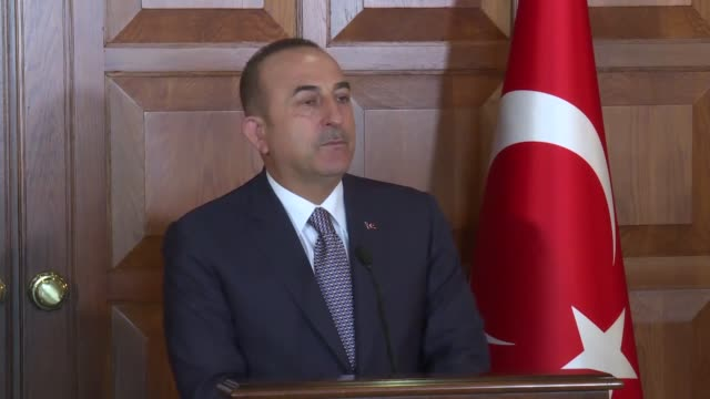 turkish foreign minister mevlut cavusoglu speaks at a joint press conference with his el salvadorian counterpart alexandra hill in ankara turkey on... - foreign minister stock videos and b-roll footage