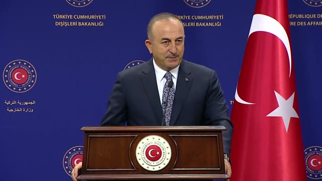 turkish foreign minister mevlut cavusoglu speaks at a joint press conference with sierra leonean foreign affairs and international cooperation... - human joint stock videos & royalty-free footage