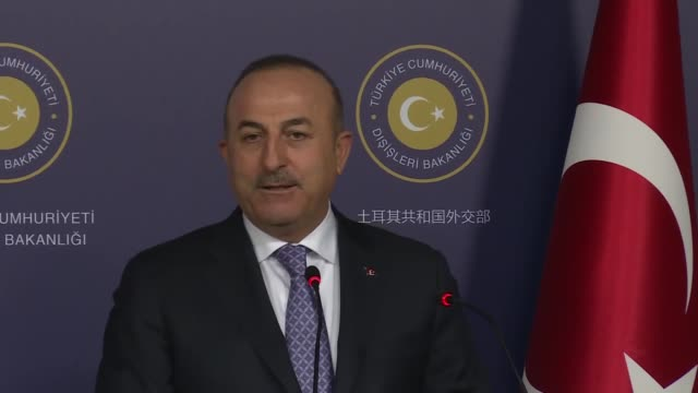 Turkish Foreign Minister Mevlut Cavusoglu speaks at a joint press conference with his Austrian counterpart Karin Kneissl following their meeting at...