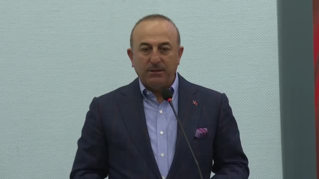 turkish foreign minister mevlut cavusoglu speaks at a meeting in turkey's aegean province of mugla on february 20 2019 the fight against terror... - foreign minister stock videos and b-roll footage