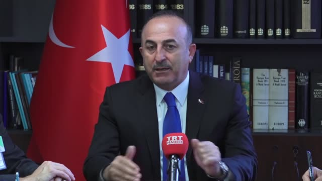 turkish foreign minister mevlut cavusoglu speaks at a news conference following the nato foreign ministers' meeting in brussels, belgium on april 27,... - us state border stock videos & royalty-free footage