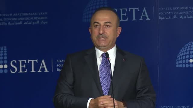 Turkish Foreign Minister Mevlut Cavusoglu speaks at a panel discussion in which new 2017 European Islamophobia Report by Foundation for Political...