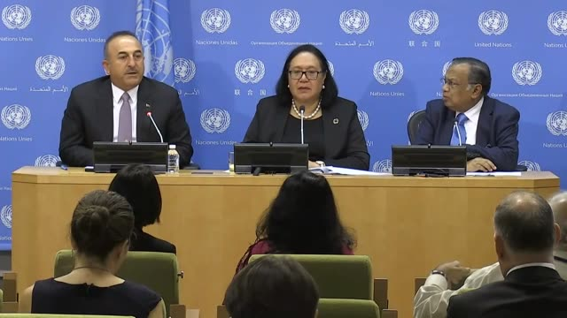 turkish foreign minister mevlut cavusoglu speaks at a press briefing hosted by the government of turkey and the united nations highrepresentative and... - the bank of new york stock videos and b-roll footage