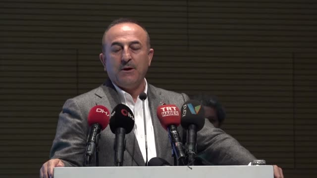 turkish foreign minister mevlut cavusoglu speaks at an event in southern antalya province on march 25, 2019. u.s. president donald trump's decision... - president stock videos & royalty-free footage