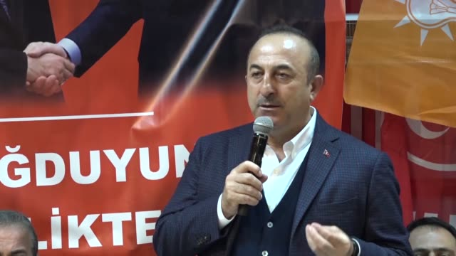 turkish foreign minister mevlut cavusoglu speaks at an event in the mediterranean province of antalya turkey on march 13 2019 turkey's foreign... - mediterranean turkey stock videos and b-roll footage