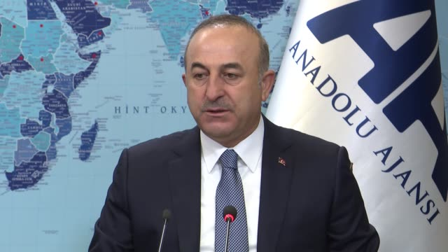 Turkish Foreign Minister Mevlut Cavusoglu speaks at Anadolu Agency's Editors' Desk on January 04 2017 Turkish Foreign Minister Mevlut Cavusoglu has...