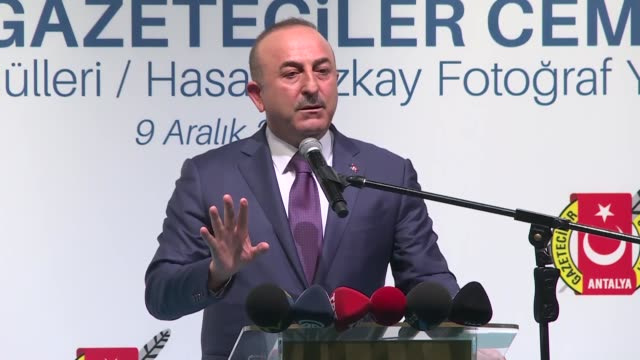 turkish foreign minister mevlut cavusoglu speaks at antalya association of journalists awards ceremony on december 09, 2018 in antalya, turkey.... - out of context stock videos & royalty-free footage