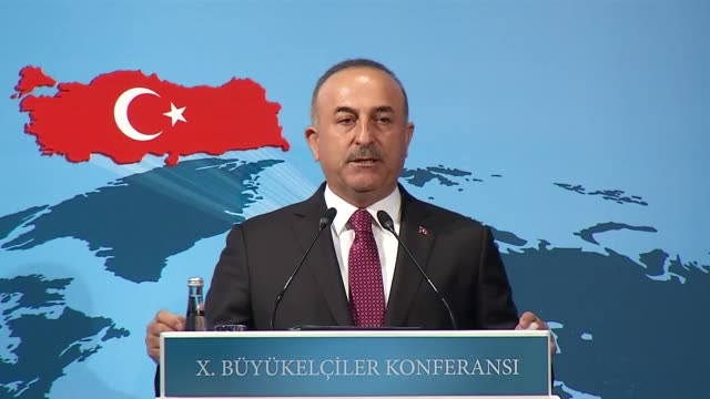 Turkish Foreign Minister Mevlut Cavusoglu speaks at the 10th Ambassadors' Conference in Ankara Turkey on August 13 2018 Turkey's foreign minister on...