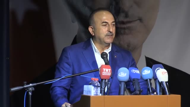 Turkish Foreign Minister Mevlut Cavusoglu speaks at the 5th ordinary congress of the ruling Justice and Development Party in Alanya district of...