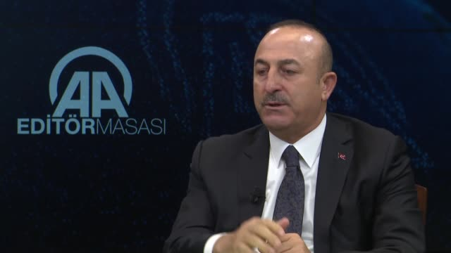 turkish foreign minister mevlut cavusoglu speaks at the anadolu agency's editor desk on october 23 2018 in akara turkeyturkey is ready to cooperate... - columnist stock videos & royalty-free footage