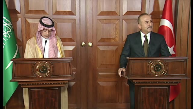 Turkish Foreign Minister Mevlut Cavusoglu speaks during a joint press conference with Saudi Foreign Minister Adel bin Ahmed AlJubeir following their...