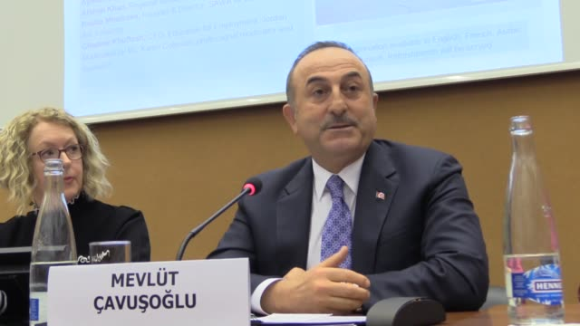 "turkish foreign minister mevlut cavusoglu speaks during a panel titled ""the syrian refugee crisis – delivering in partnership"" in geneva, switzerland... - equal opportunities stock videos & royalty-free footage"