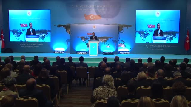 turkish foreign minister mevlut cavusoglu speaks during the 11th annual ambassadors' conference on august 05, 2019 in ankara. cavusoglu hailed... - western european culture stock videos & royalty-free footage