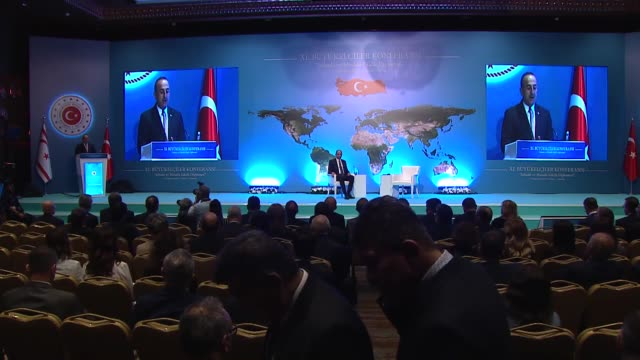 turkish foreign minister mevlut cavusoglu speaks during the 11th annual ambassadors' conference on august 05 2019 in ankara turkey 'cooperate with us... - grecia stato video stock e b–roll